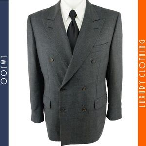 CANALI 40R Gray Glen Plaid Double Breasted Blazer